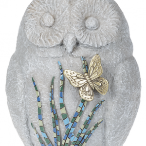 Owl with Mosaic Butterfly Figurine